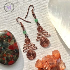 Green Aventurine Copper Xmas Tree Earrings